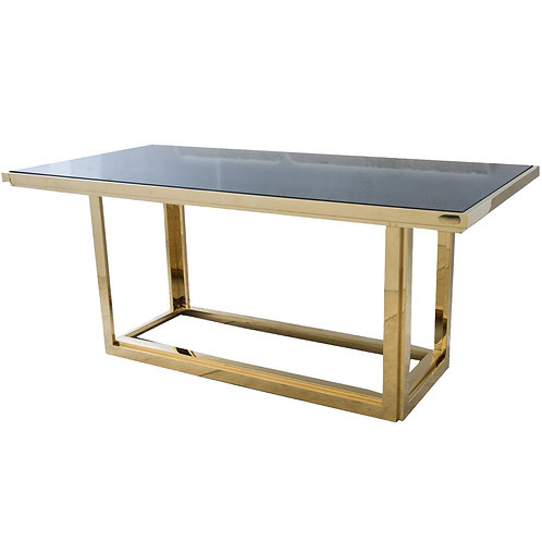 Modern Gatsby Rectangular Gold Kitchen Large 6 Seater Dining Room Table