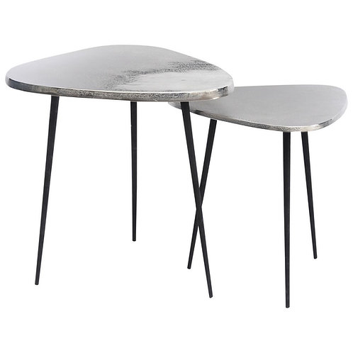 Tribeca Set Of Two Silver Aluminium Side Tables