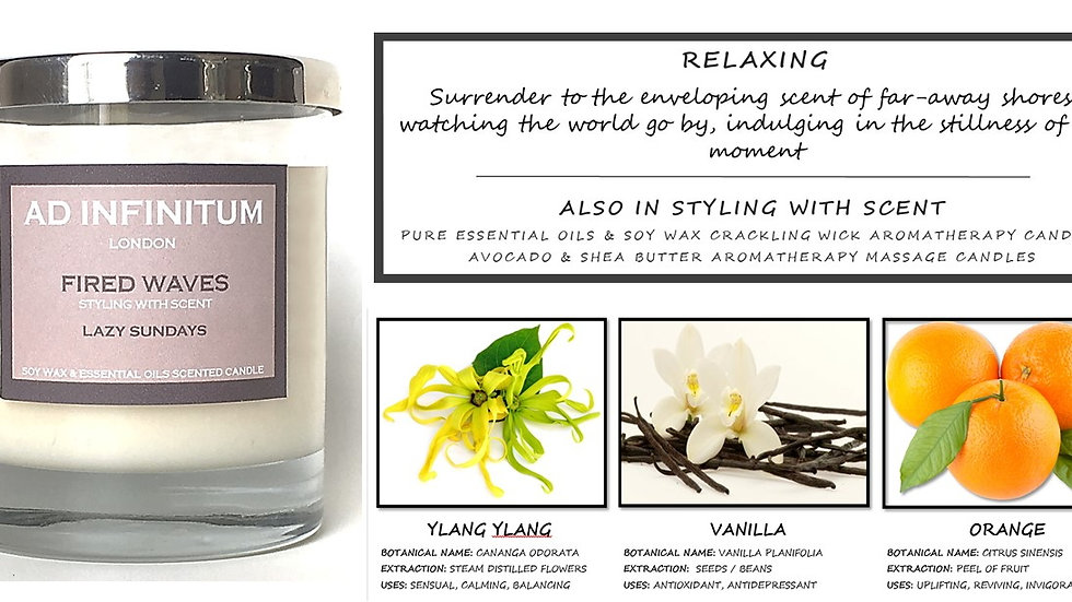 LAZY SUNDAYS Pure Essential Oils & Soy Wax Crackling Wick Aromatherapy Candle