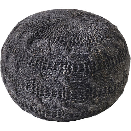 lava hand knitted round charcoal wool po