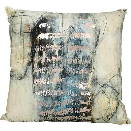 Studio Blue Square Velvet Cushion, 50x50cm