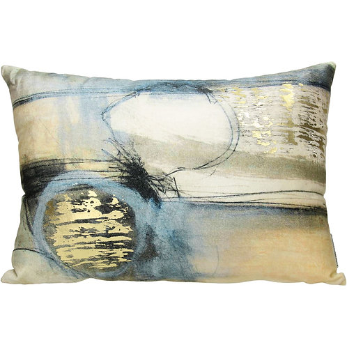 Studio Blue Rectangular Velvet Cushion, 35x50cm