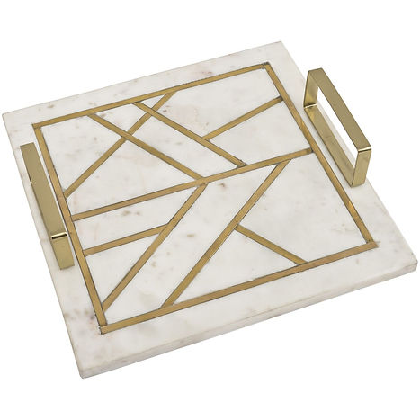 amara square marble tray with brass meta