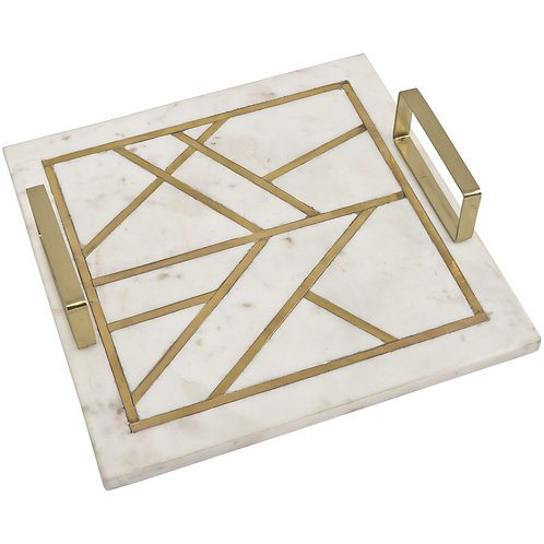 Amara Square Marble Tray With Brass Metal Inlay