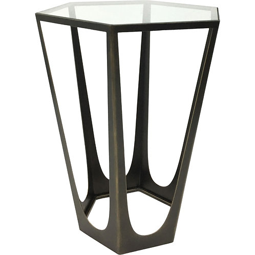 Catalan Hexagon End Table Clear Float Glass