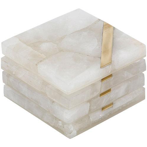 Tavora Set Of 4 White Quartz Coasters