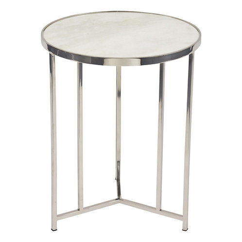 Meso White Marble & Polished Nickel Frame Round Side Table