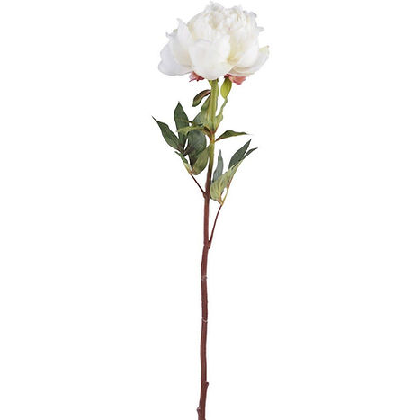 Faux White Open Bloom Peony Spray With L