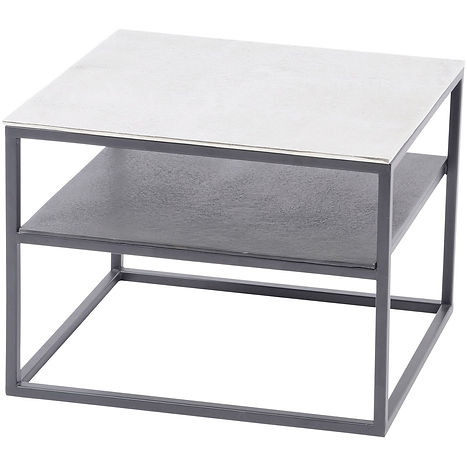 elements aluminium and iton side table w