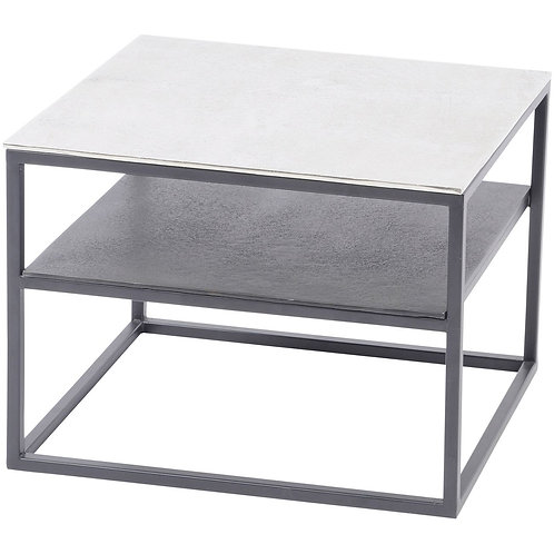 Elements Aluminium and Iron Side Table with Shelf