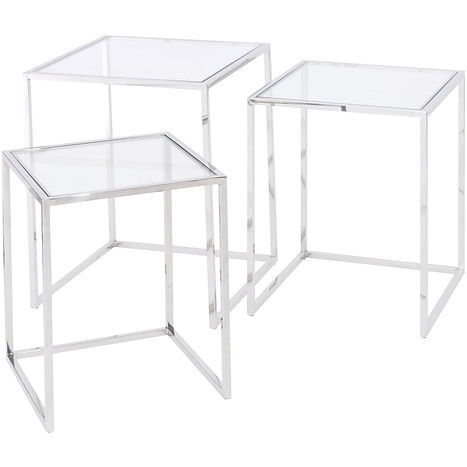 linton stailess steel and glass set of 3