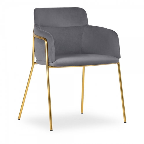 Velvet Upholstered Chair Grey