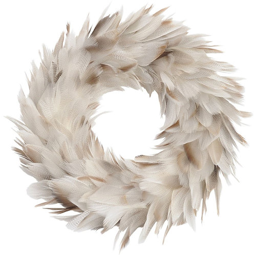 Grey Feather Wreath Small