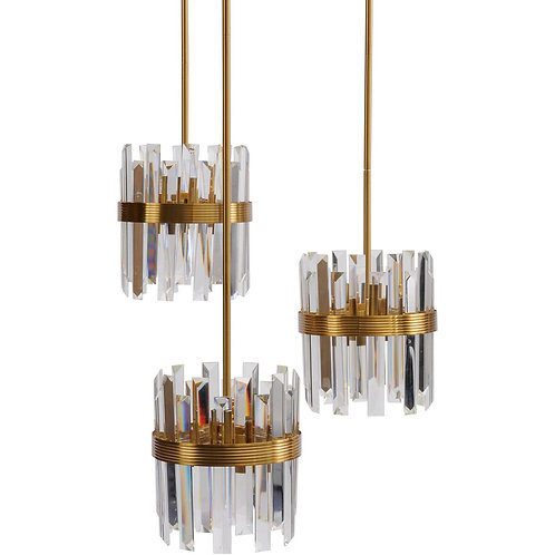 Set Of Three Crystal Pendant Lights E14 40W 12
