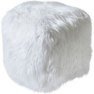isaba hand made ivory faux leather pouff