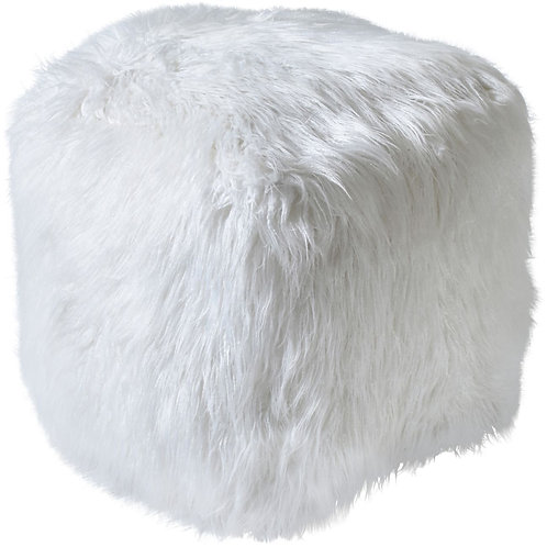 Isaba Hand Made Ivory Faux Leather Pouffe