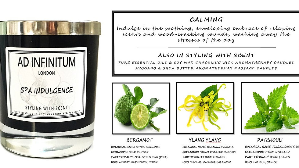 SPA INDULGENCE Pure Essential Oils & Soy Wax Crackling Wick Aromatherapy Candle