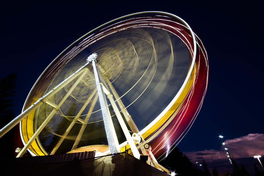 Night photos require a longer shutter speed, which create light trails