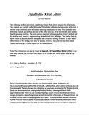 Unpublished Kleist Letters Front Page Im