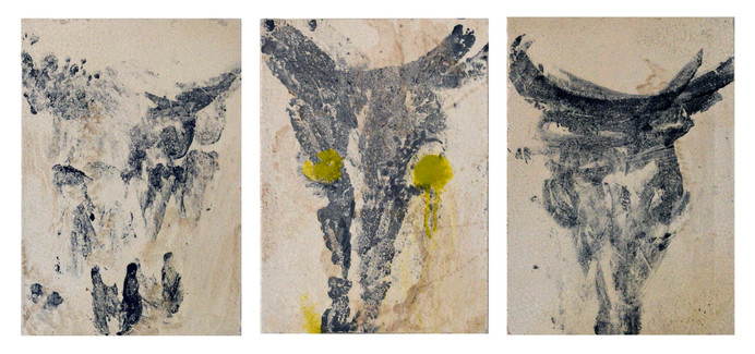 Ox, trypthic, 2014