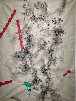 Bloom. 2020. Ink and paper machè on raw Belgian linen. 72x54in/182x137cm