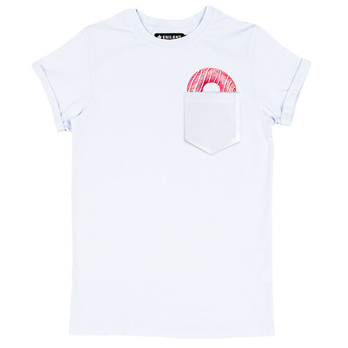 Белая женская футболка с изображением Пончик в кармане