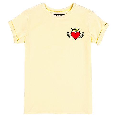 Бежевая женская футболка с изображением Сердце с крыльями
