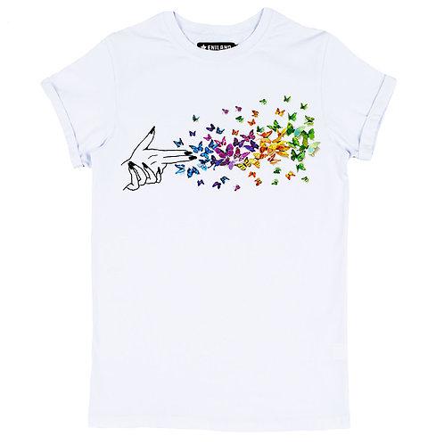 Белая женская футболка с изображением Выстрел