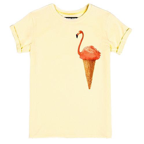 Бежевая женская футболка с изображением Фламинго