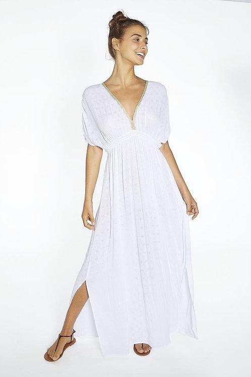 Белое платье  с декольте 85816