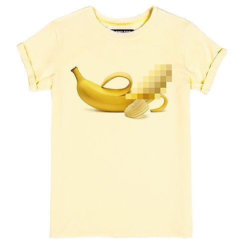 Бежевая женская футболка с изображением банановая цензура