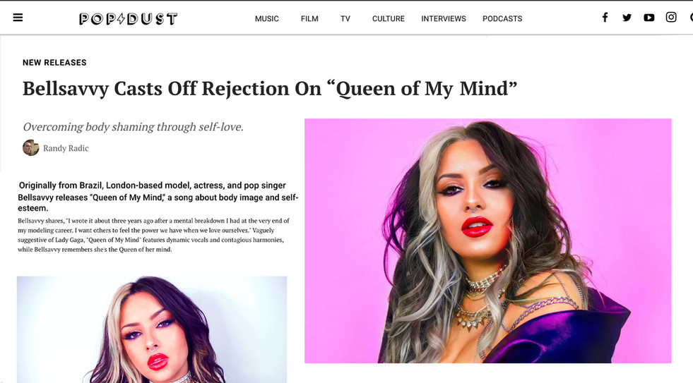 """BELLSAVVY CASTS OFF REJECTION ON """"QUEEN OF MY MIND"""" FOR POP DUST"""