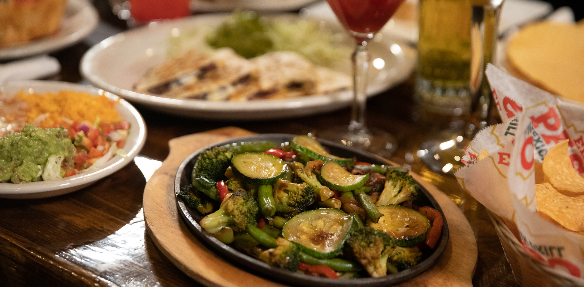vegetarian dishes and dining table