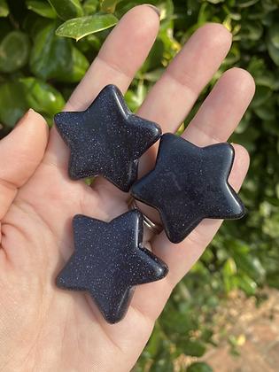 Blue Goldstone Carved Star
