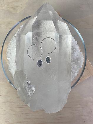 Labradorite Open Hoop Earrings