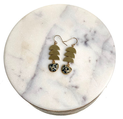 Dalmatian Jasper & Brass Earrings