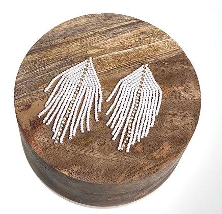 Raya Beaded Earrings White