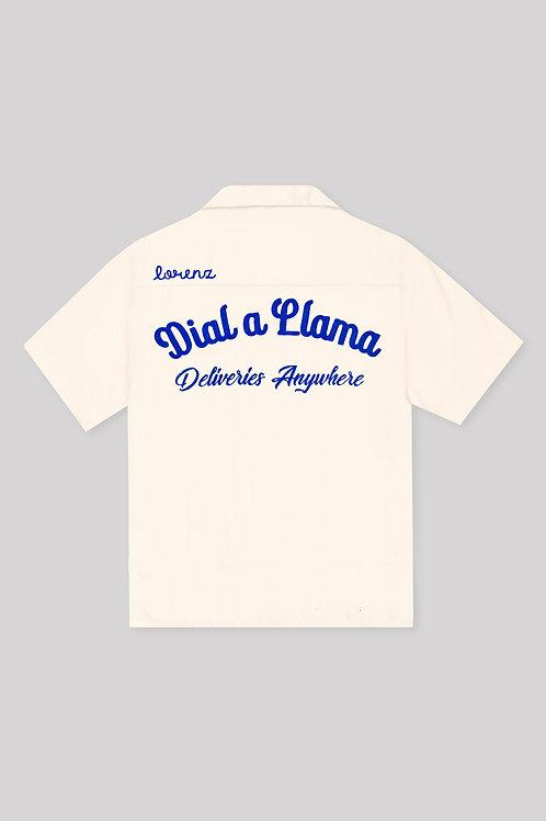 Dial a Llama Bowling Shirt - Off White