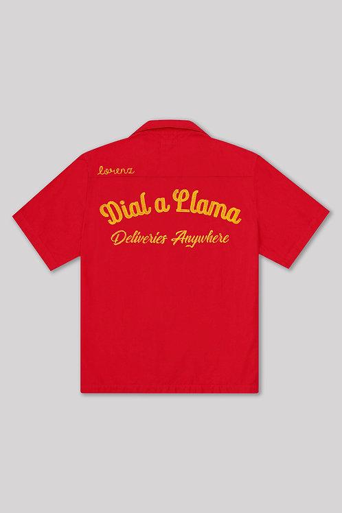 Dial a Llama Bowling Shirt - Red