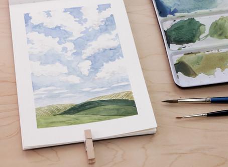 Paint a Simple Watercolor Landscape: Cloudy Sky