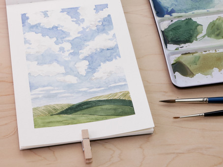 Paint a Simple Watercolor Landscape: Cloudy Sky