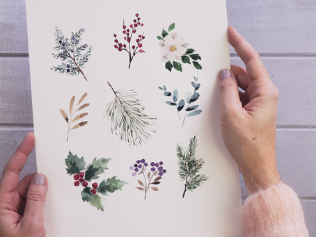 Every Watercolor Leaf You'll Ever Need: Winter Holiday Edition!