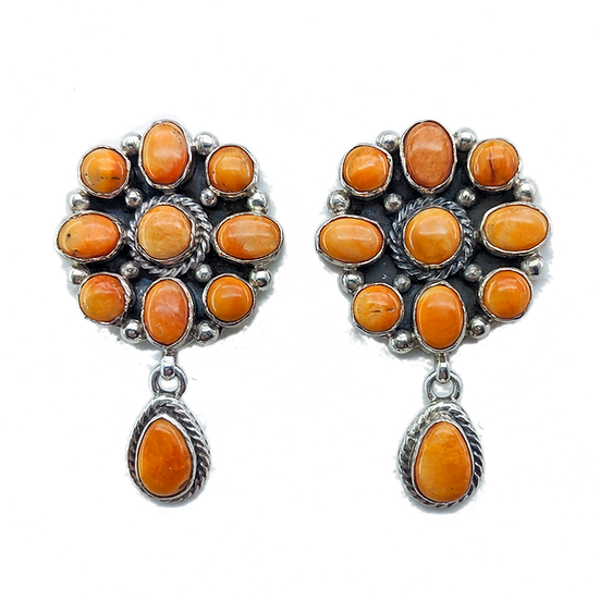Sterling Silver and Orange Spiny Oyster Clip-on Earrings