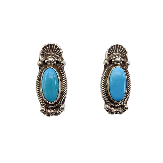 Sterling Silver and Turquoise Clip-on Earrings, Sleeping Beauty