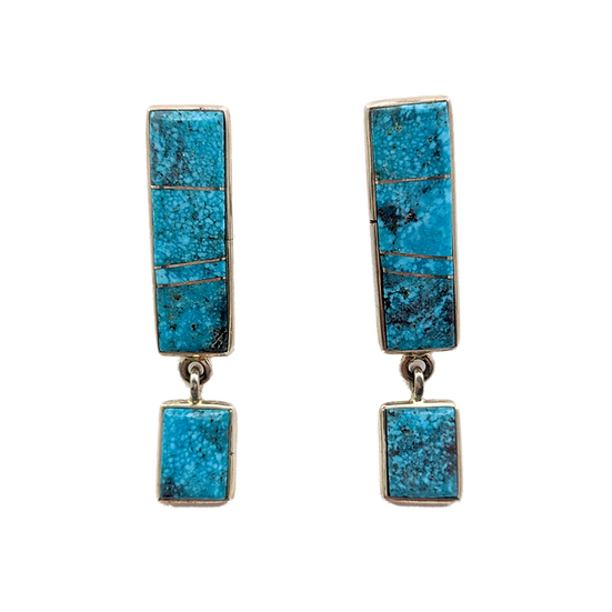 Turquoise and Sterling Silver Clip-on Earrings