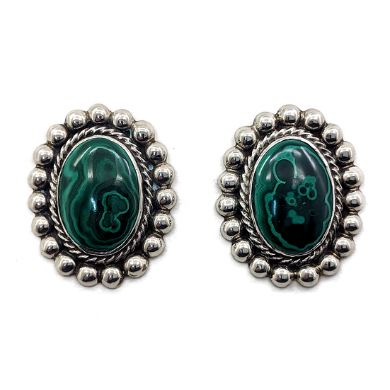 Sterling Silver and Malachite Clip-on Earrings