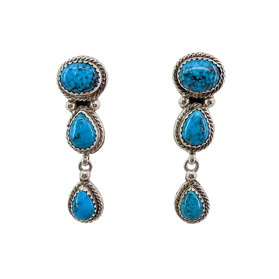 Sterling Silver and Morenci Turquoise Clip-on Earrings