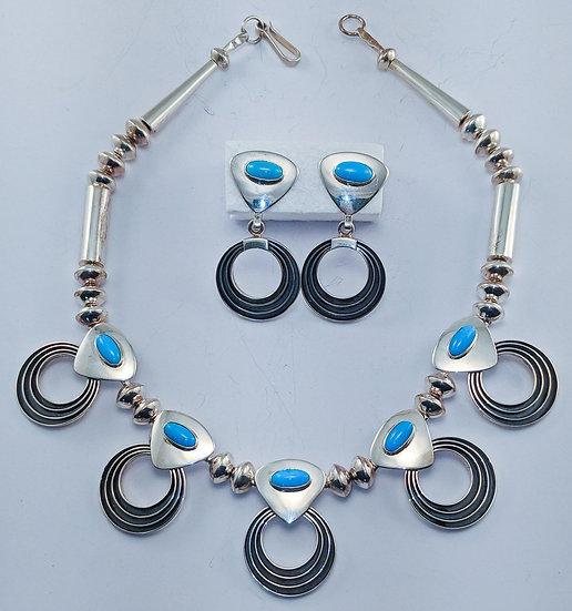 Sterling Silver Necklace and Earrings by Jack Tom