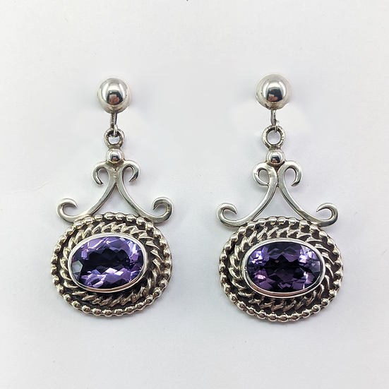 Sterling Silver and Amethyst Clip-on Earrings
