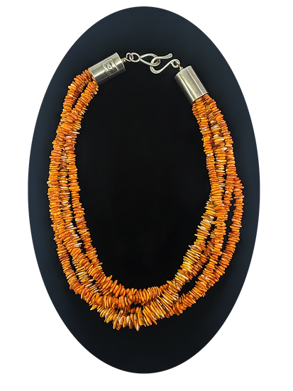 Sterling Silver and Orange Spiny Oyster Necklace, by Alfred Lee